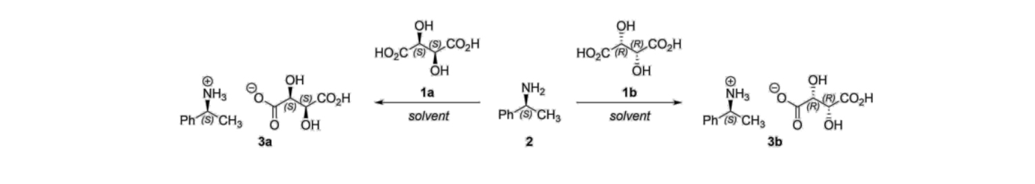 Scheme 1 . Reaction of ( S )-1-phenylethylamine ( 2 ) with D- and L-tartaric acid ( 1a  and  1b ).[1]