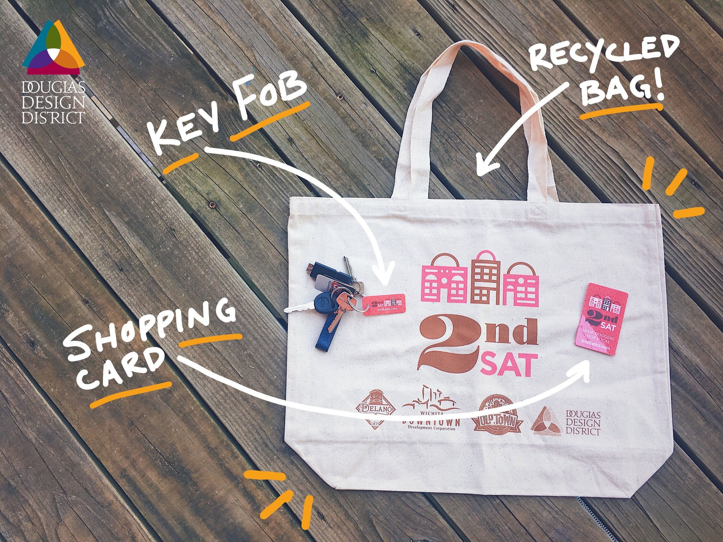 Your $5 2nd Saturday shopping kit comes with a re-usable, recycled bag, a 2nd Saturday Key Fob, and Shopping Card. Now you're ready to go!