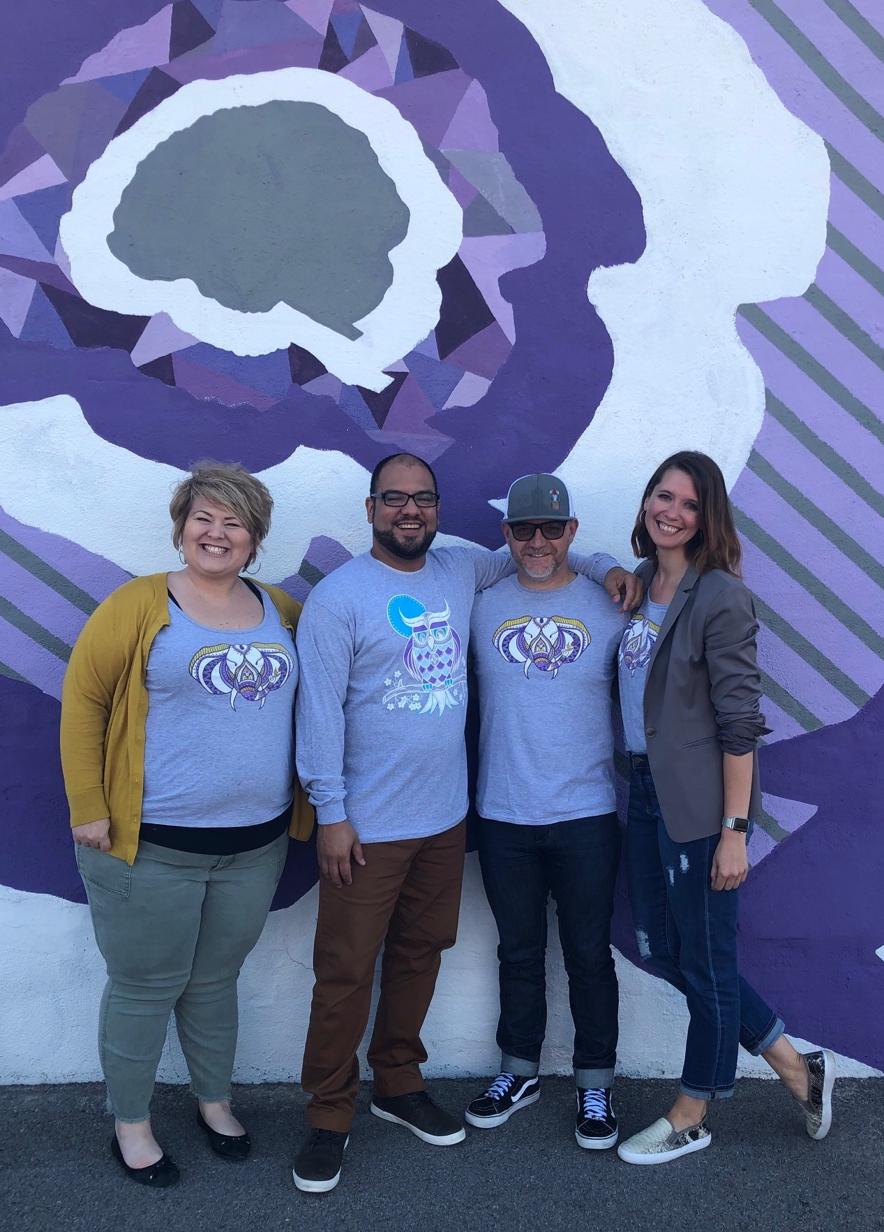 The DDD Podcast joined Sarah McNay and Johnny Freedom for this month's podcast, recorded at the Alzheimer's Association.  Pictured are Sarah, Jason, Johnny and Renee, in front of the Brickmob mural at AA.