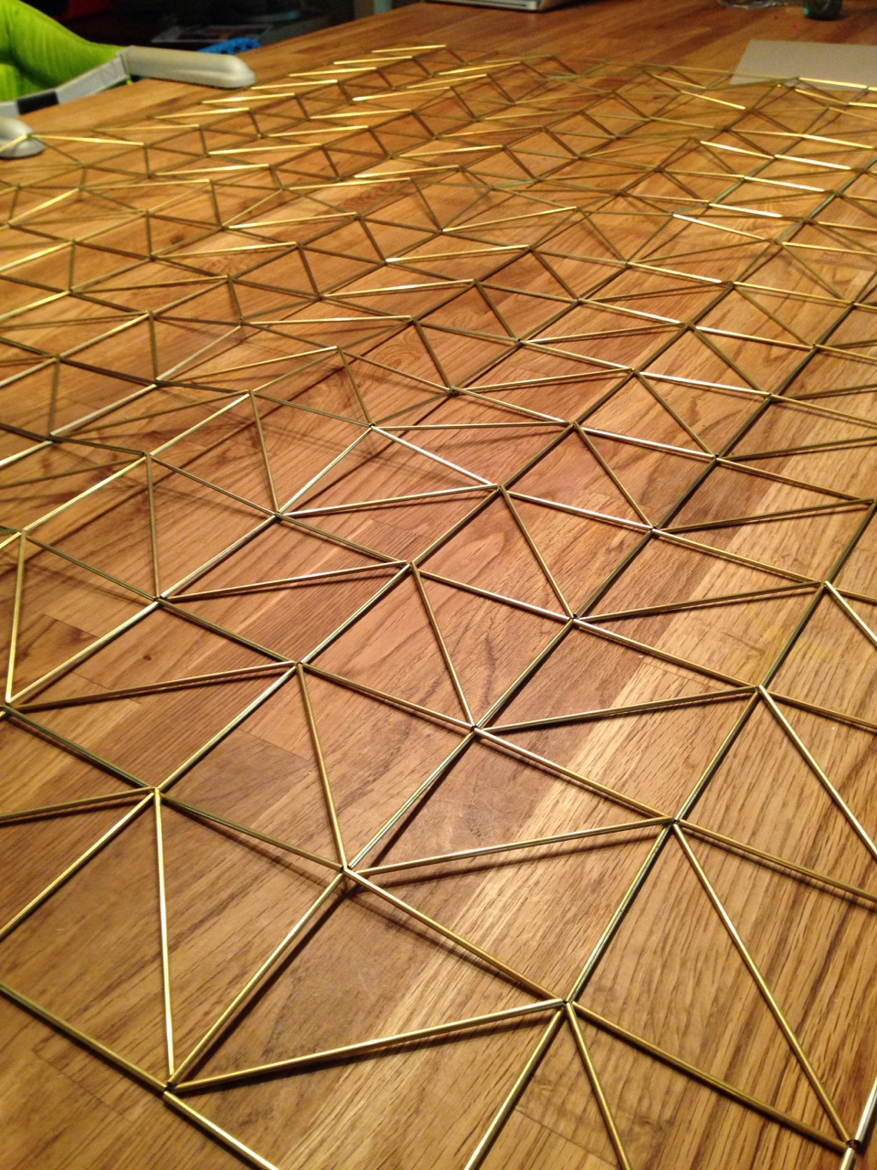 Getting ready to mail a new brass tesselation to friends in NYC.