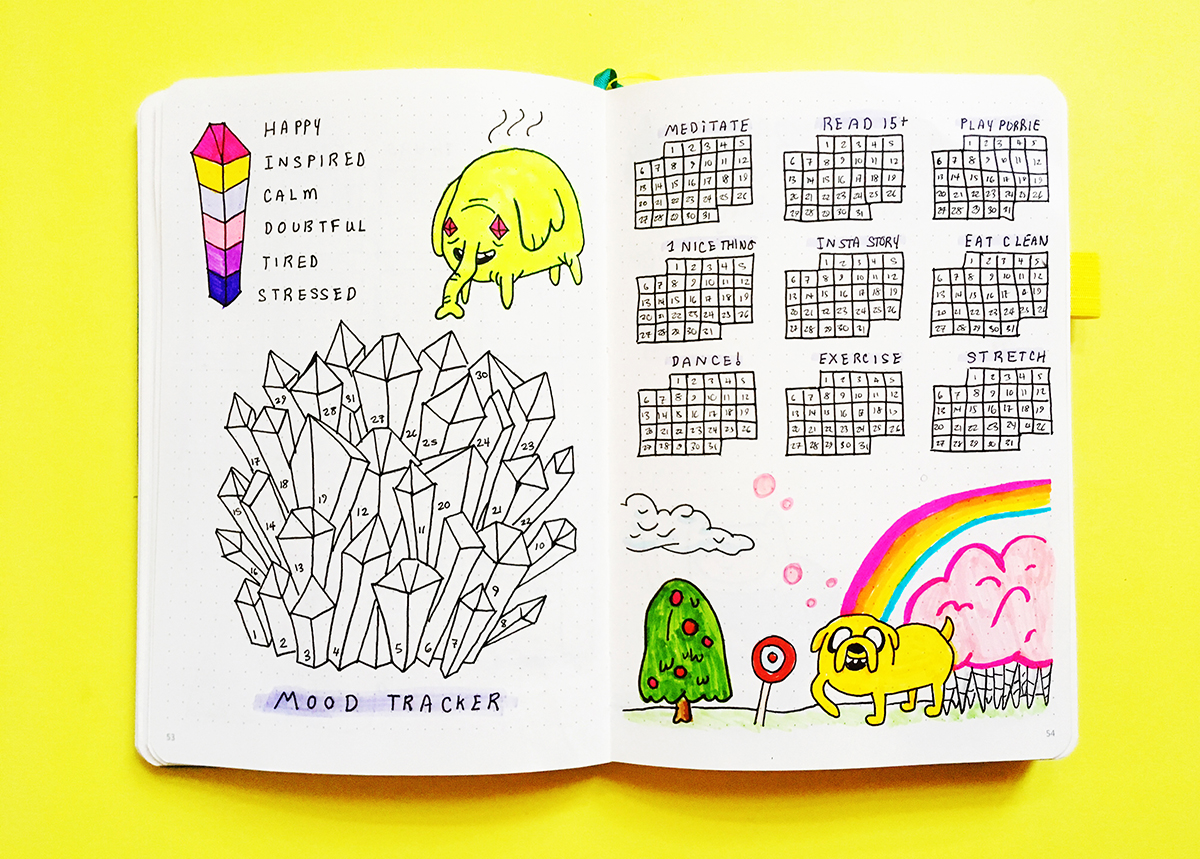 Adventure Time Bullet Journal Theme   Bullet Journal Spread  Check out this fun Adventure Time themed bullet journal spread! Including mood trackers, habit trackers and other bullet journal spread ideas.  #bulletjournaling #bulletjournaljunkies #bulletjournalcollection #bulletjournalweeklylog #planneraddict #planning