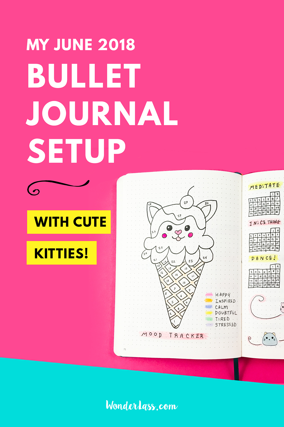 My June 2018 Bullet Journal Setup | Bullet journal theme, habit and mood trackers, and weekly spreads all inspired by kawaii kitties!