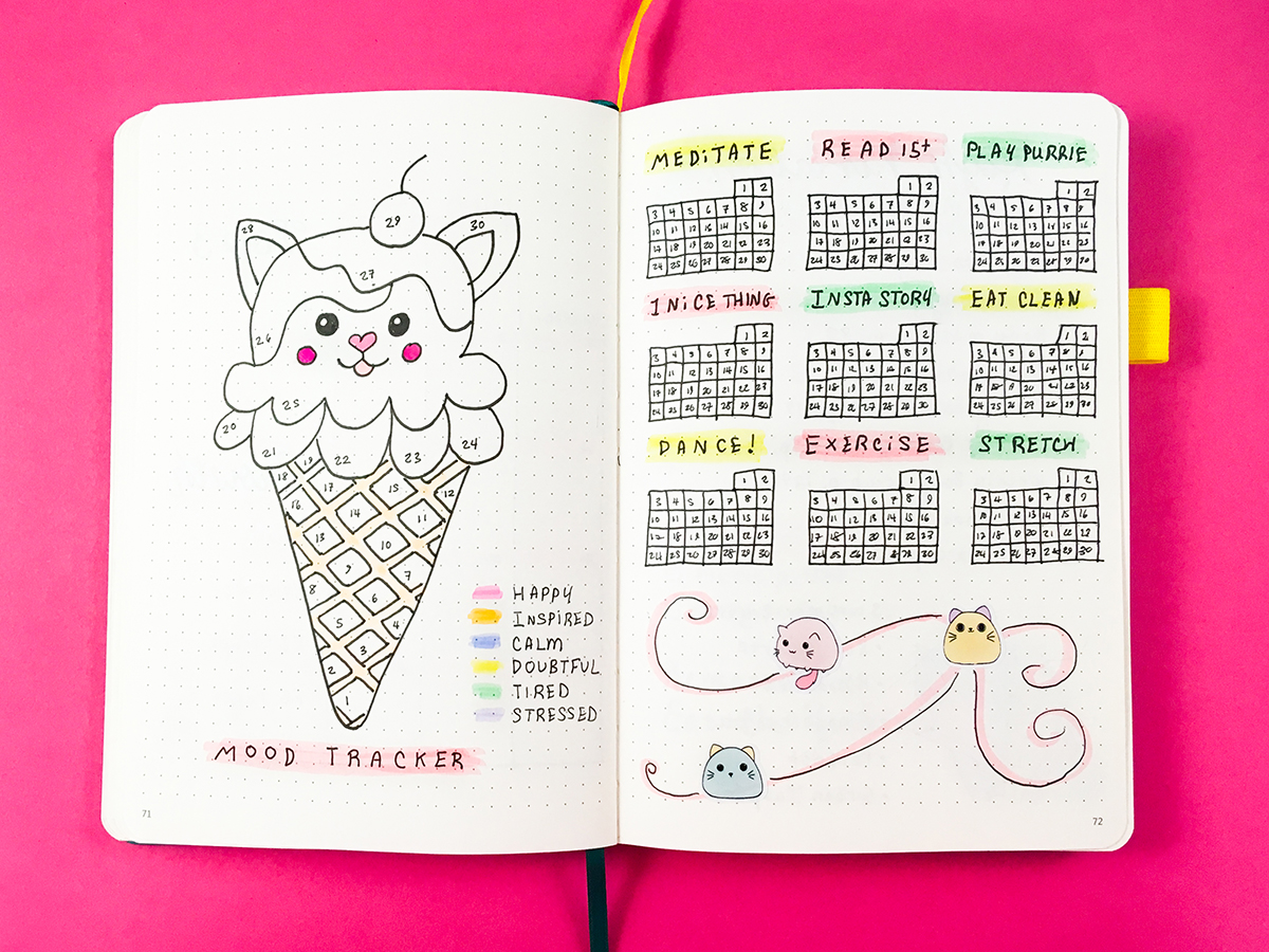 Cute bullet journal mood and habit trackers!  | Bullet Journaling  Check out this kawaii kitty and ice cream themed bullet journal monthly spread for bullet journaling ideas and inspiration!  #bulletjournal #bulletjournaling #bulletjournaljunkies #bulletjournalspreads #habittracker #moodtracker #journaling #planning