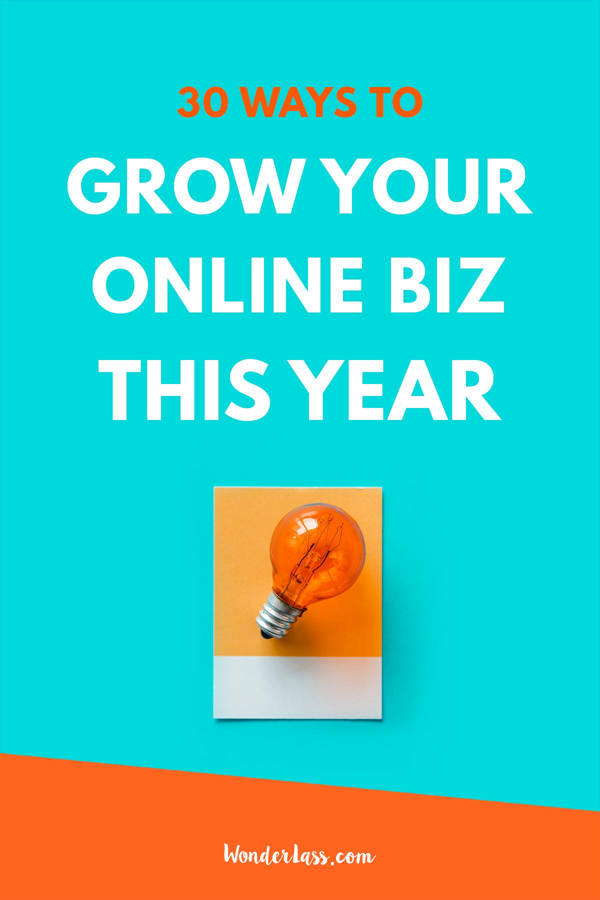 30 Ways to Grow Your Online Business This Year | Wonderlass  #onlinebusiness #makepassiveincome #onlinemarketing