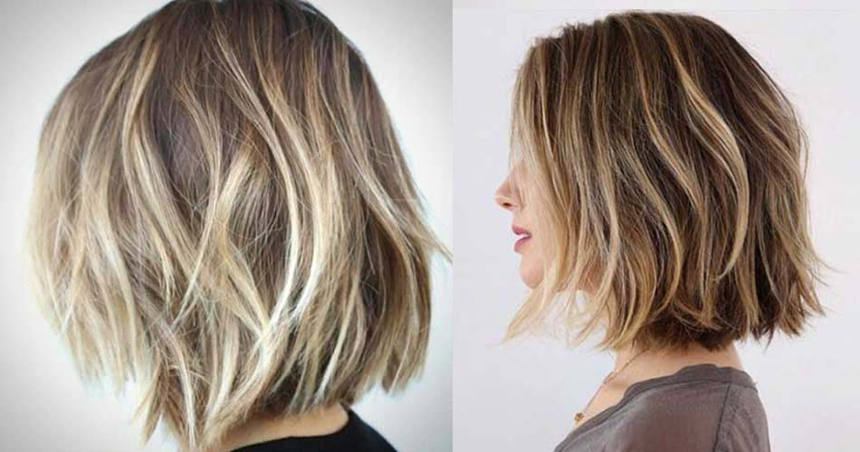 Balayage hair coloring and blunt hair cut