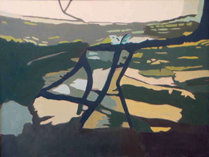 "Green Lawn   , 1997,Oil on Linen, 26"" x 34"""