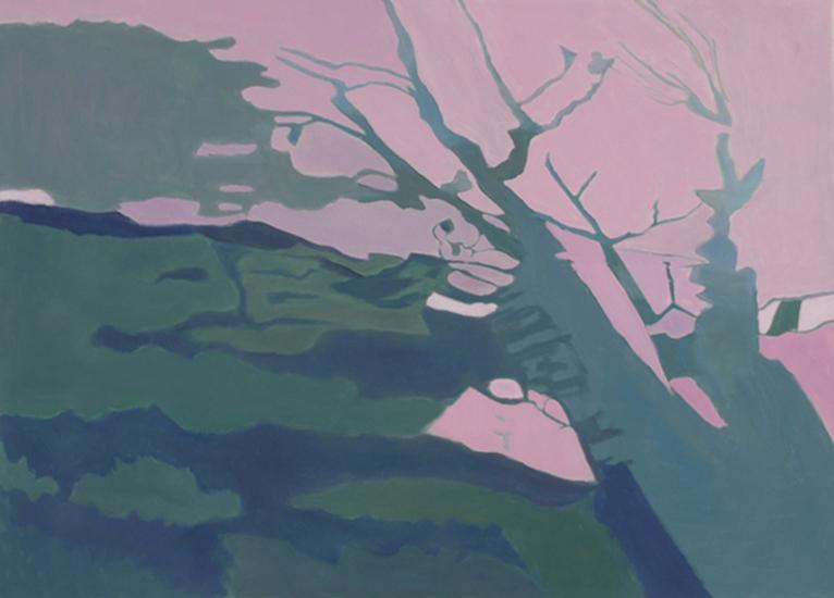 "Shadows on the Grass I   , 1998,Oil on Linen, 24"" x 10"""