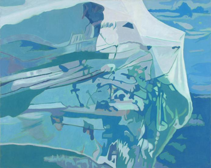 "Blue Net   , 1990,Oil on Linen, 40"" x 50"""