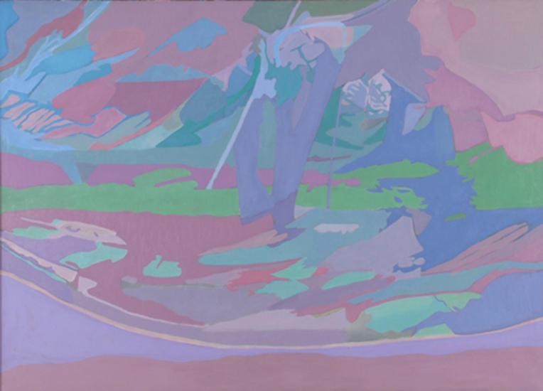 """Blue Apple Tree   , 1990,Oil on Linen, 36"""" x 50"""""""