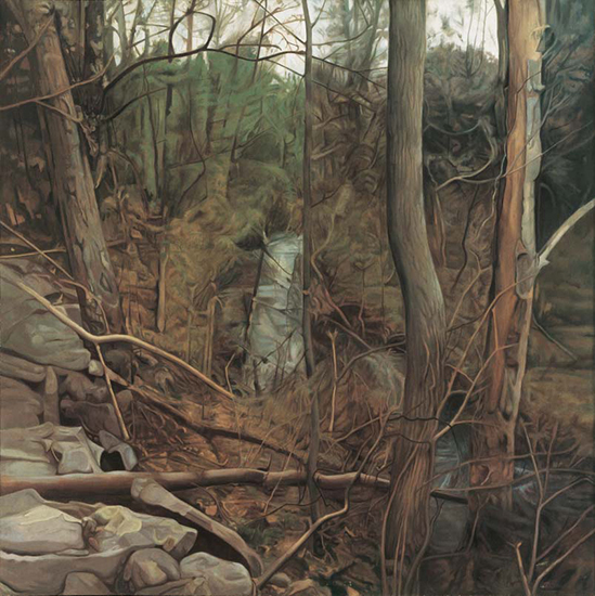 """The Gulley   , 1975,Oil on Linen, 70"""" x 70"""""""