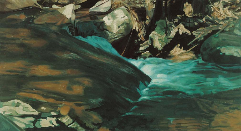 "Green Waterfall   , 1975,Oil on Linen, 25""x44"""