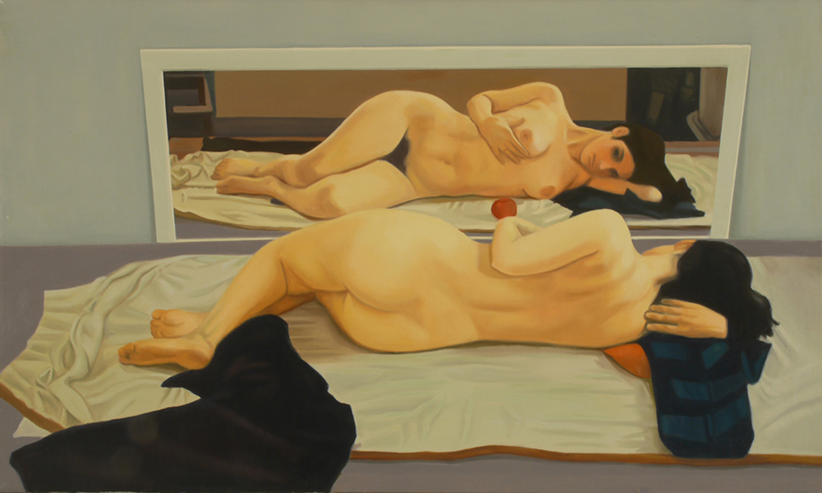 """Touching (Blue-Triptych)   , Oil on Linen, 24"""" x 40"""", 1971"""