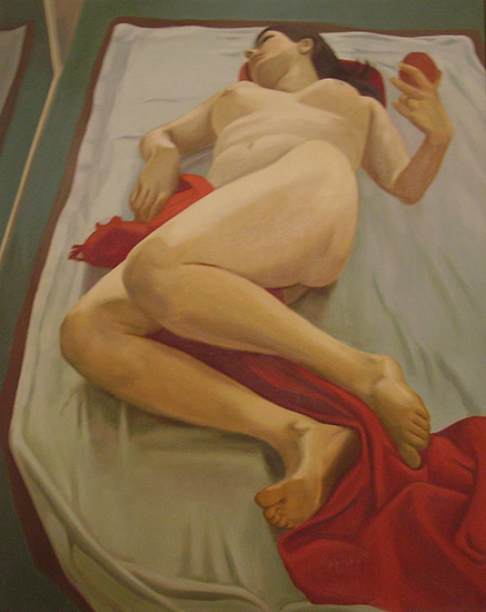 """Red-Triptych   , Oil on Linen, 24"""" x 40"""", 1971"""