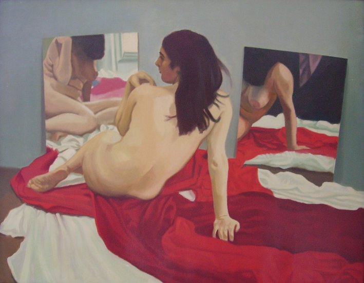 """Two Mirror   , Oil on Linen, 24"""" x 30"""", 1973"""