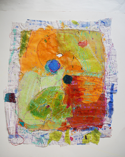 """Chants for Indian Morning  ,2015,Mixed media: Sewing on handmade paper and fabric, pigment, ink, pastel, 27""""x 29"""""""