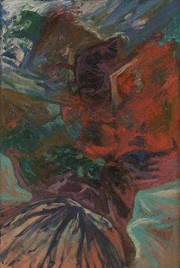 "Red Rock   , 1959,Oil on Linen, 72"" x 48"""