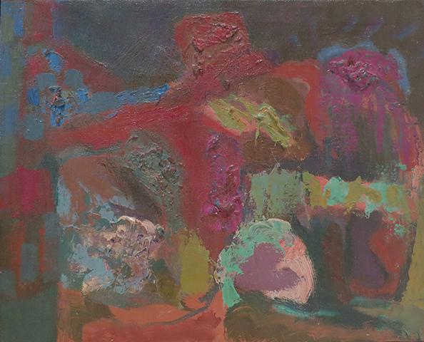 "Darkness   , 1950s,Oil on Linen, 11"" x 13.5"""