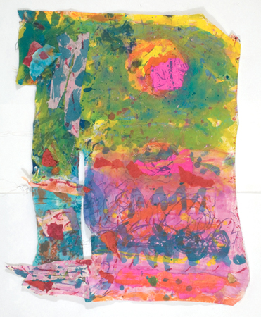 """At Noon, Joyful Pink Lady Moon is playing with Mister Sun,   2012,Fabric, Tempera, Pastels, 33"""" x 27"""""""