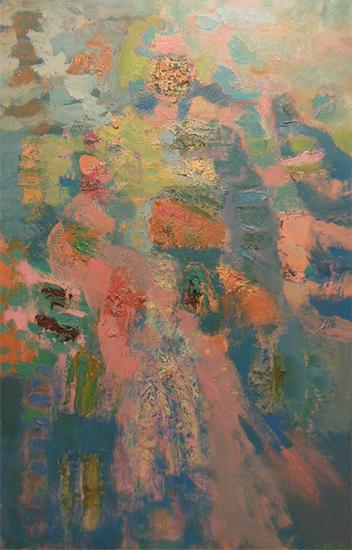 """Ascending   , 1960s,Oil on Linen, 46"""" x 30"""""""