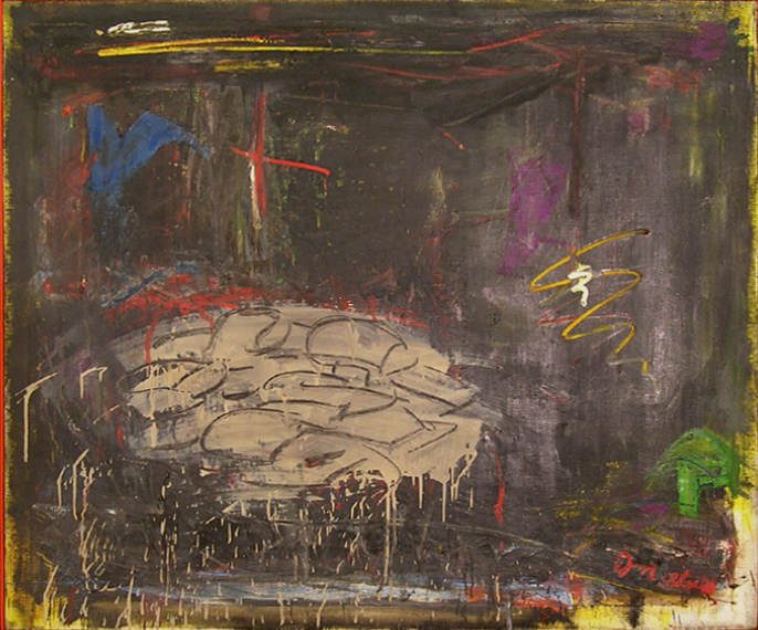 "Cars in Space  , 1959, Oil on linen, 40"" x 48"""