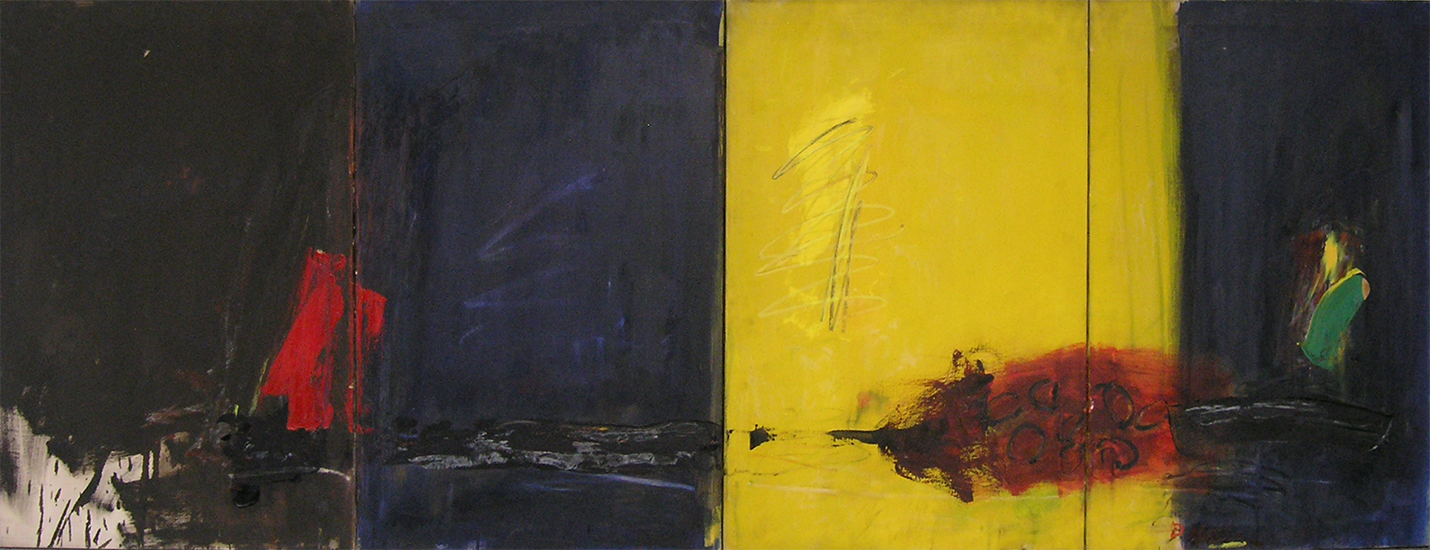"Earth's Diurnal Cycle  , 1959, Oil on linen, 33"" x 88"""