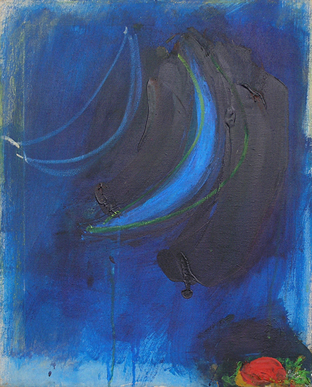 "Blue Moon with Rose  , 1962, Acrylic on linen, 23"" x 18"""
