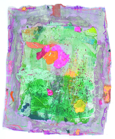 """Tender Sounds of Colors on a Rainy Day    2012,Handmadepaper, Pastel, 15"""" x 12"""""""