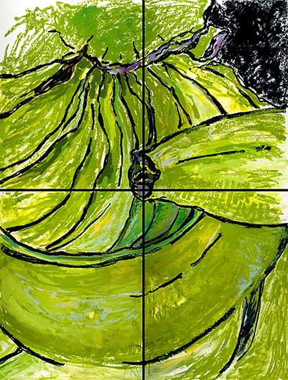 "Banana II   , 2007,Oil on Paper, 100"" x 72"""