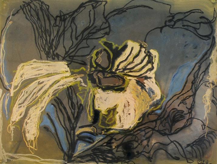"Just One Iris II   , 2005,Oil on Paper, 38"" x 50"""