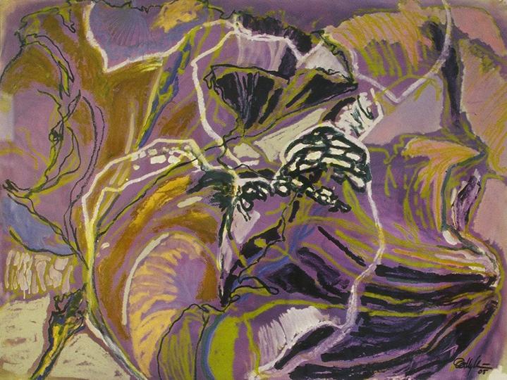 "Just One Iris III   , 2005,Oil on Paper, 38"" x 50"""