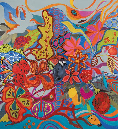 "Fantasia   , 2014,Oil on Canvas, 65"" x 65"""