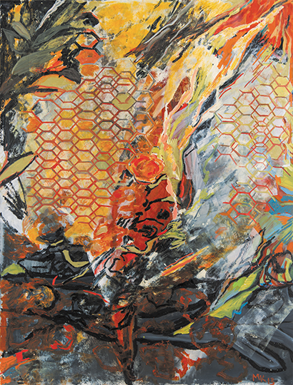 """Death of the Bumblebee I   , 2013,Oil on Paper and Collage, 50"""" x 38"""""""