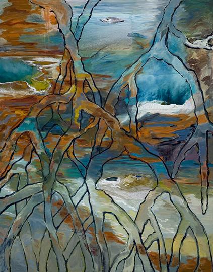 "Western Mangroves   , 2008,Mixed Media on Canvas, 86"" x 66"""