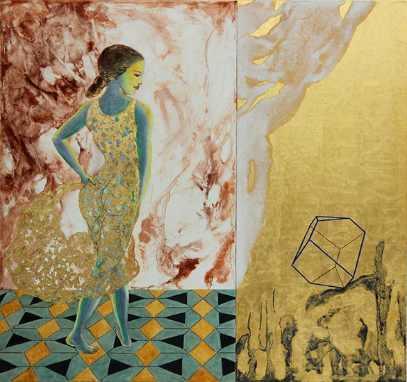 """Homage to Dürer,Colericum I, """"Cogito ergo sum""""   2013,Gold leaf, natural and mineral pigments on linen on panel, 27.6"""" x 29.4"""""""
