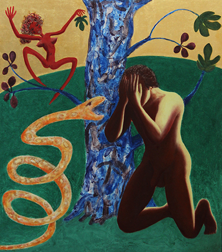 """Evolution of a Myth No. 3, Eve's Triumph   2015,Gold leaf, natural and mineral pigments on linen on panel, 51.8"""" x 44.9"""""""