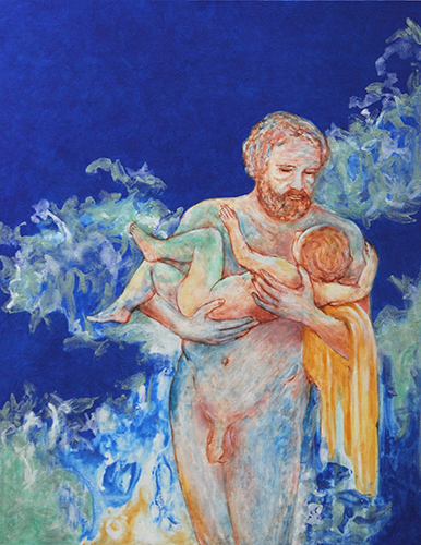 """A Part of Eternity No. 47, Father and Child   2015,Gold leaf, natural and mineral pigments on linen on panel, 60.1"""" x 47.2"""""""