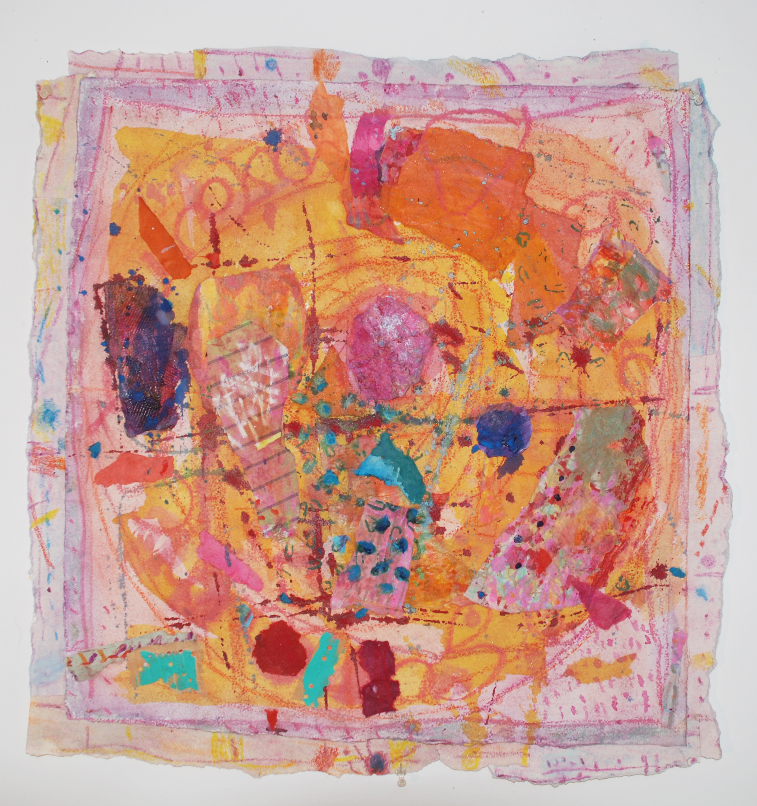 """Hymn to Our Abundant Universe   2016, handmade paper, ink, pastels, pigments, 23"""" x 22"""""""