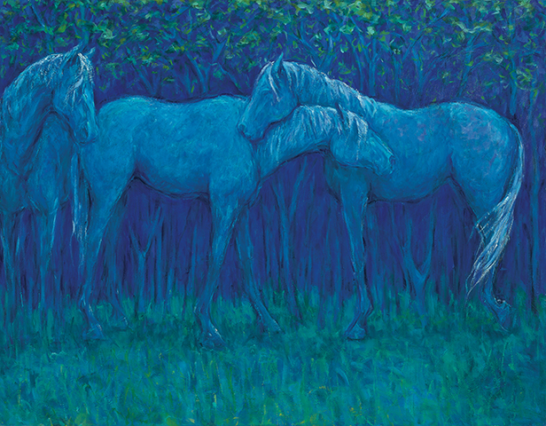 "Night Gathering  ,2011,oil,42""x 52"""
