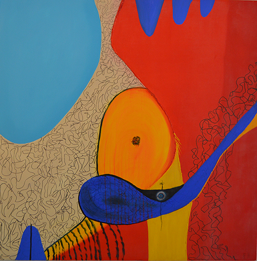 """Competing Forecasts , oil on canvas, 36"""" x 36"""", 2014"""
