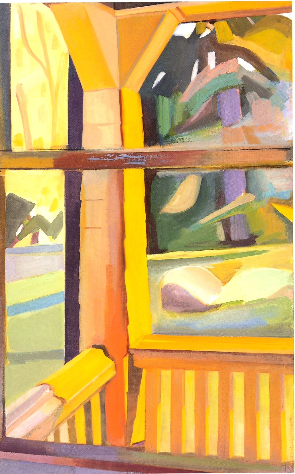 """Yellow Porch-Spring     oil on canvas, 40""""x25"""", 2004"""