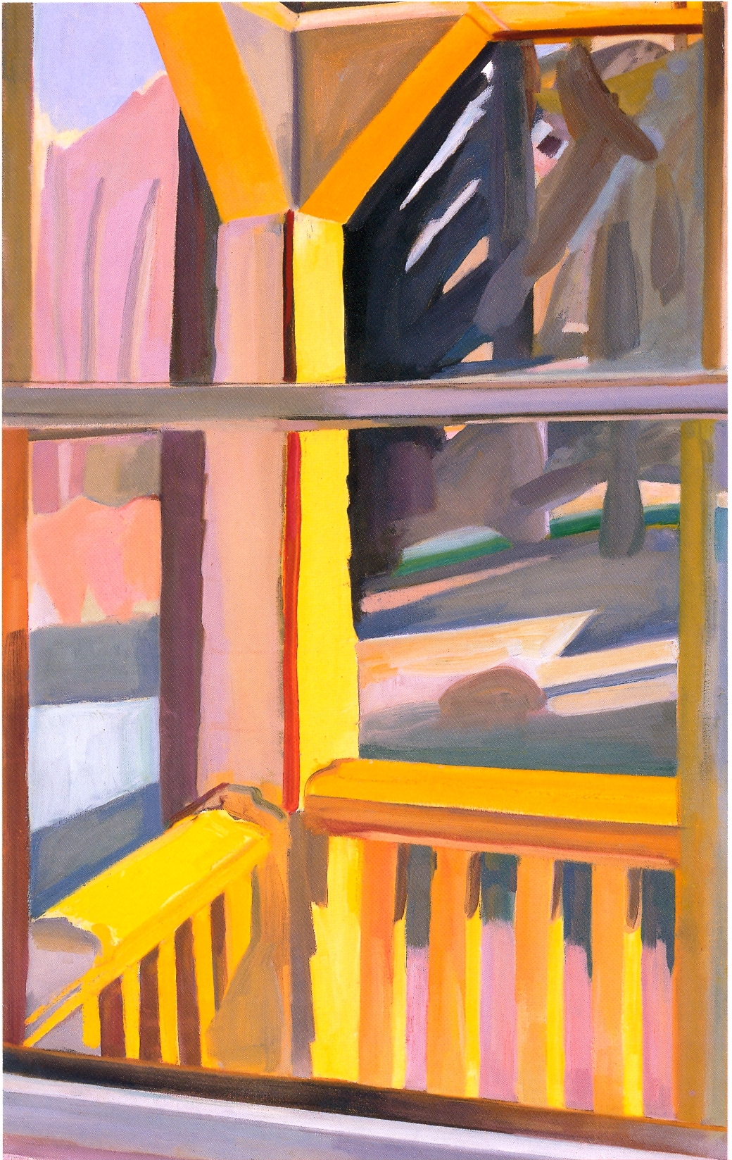 """Yellow Porch-Late Winter    oil on canvas, 40""""x25"""", 2004"""