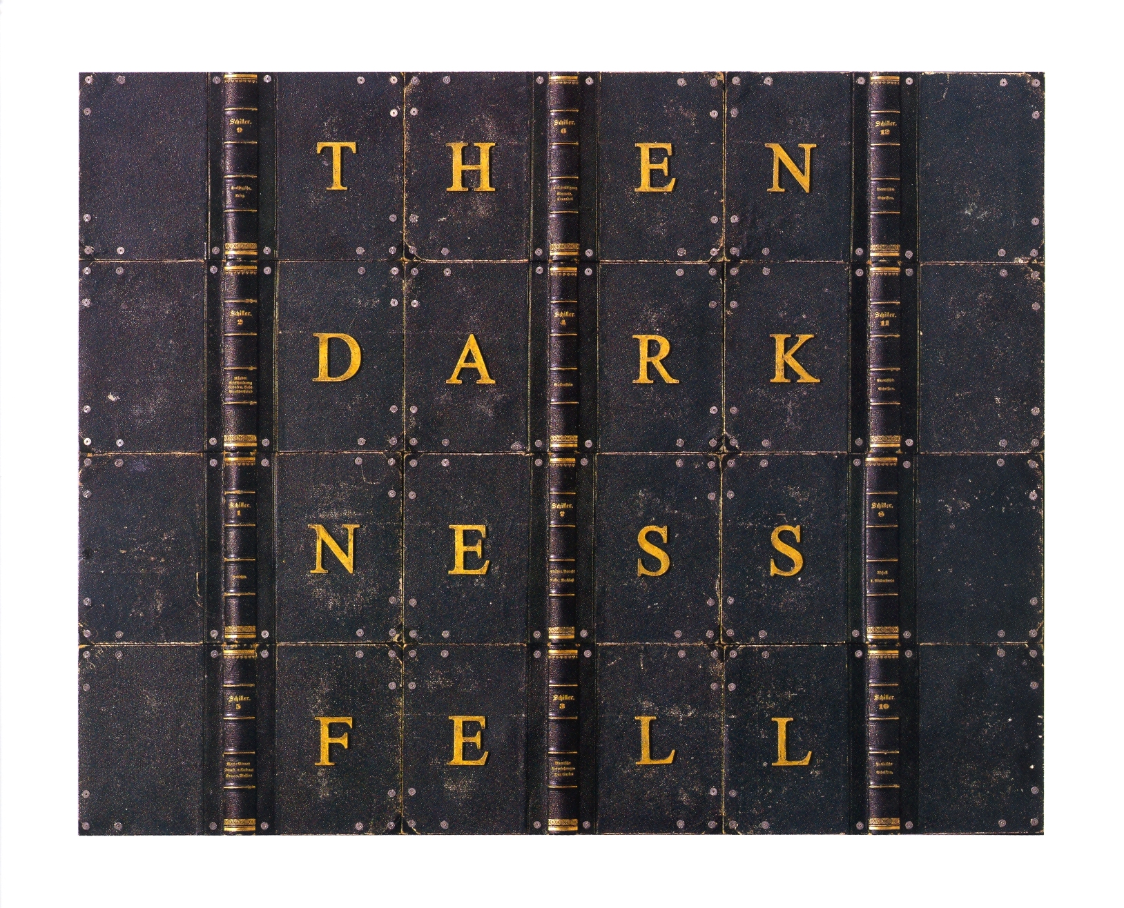 """Then Darkness Fell    antique book covers on wood, 30"""" 1/4x24""""1 1/2"""", 2004"""
