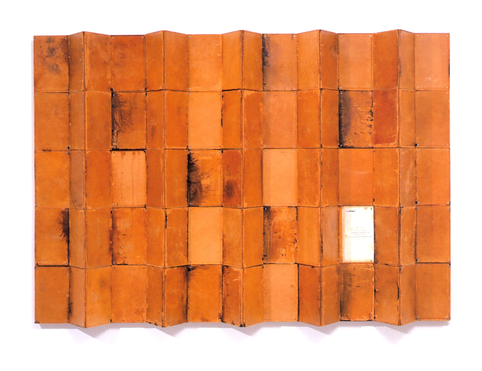 """Above the Law    antique law books on wood, 66""""x45 1/2""""x variable, 2005"""