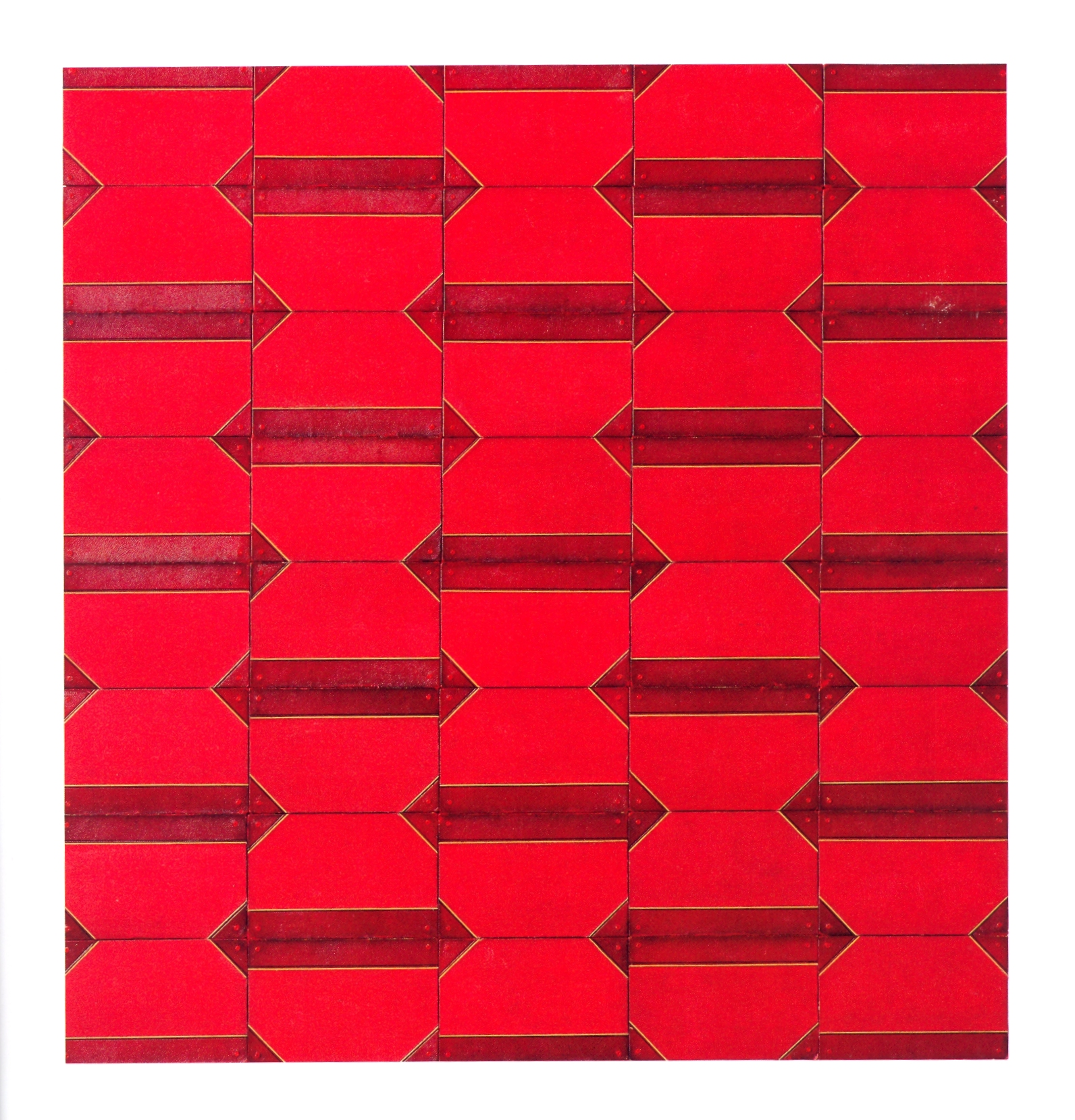 """The Arrow that Cannot be Removed    antique book covers on wood, 44 1/2""""x47""""x1 1/2"""", 2004"""