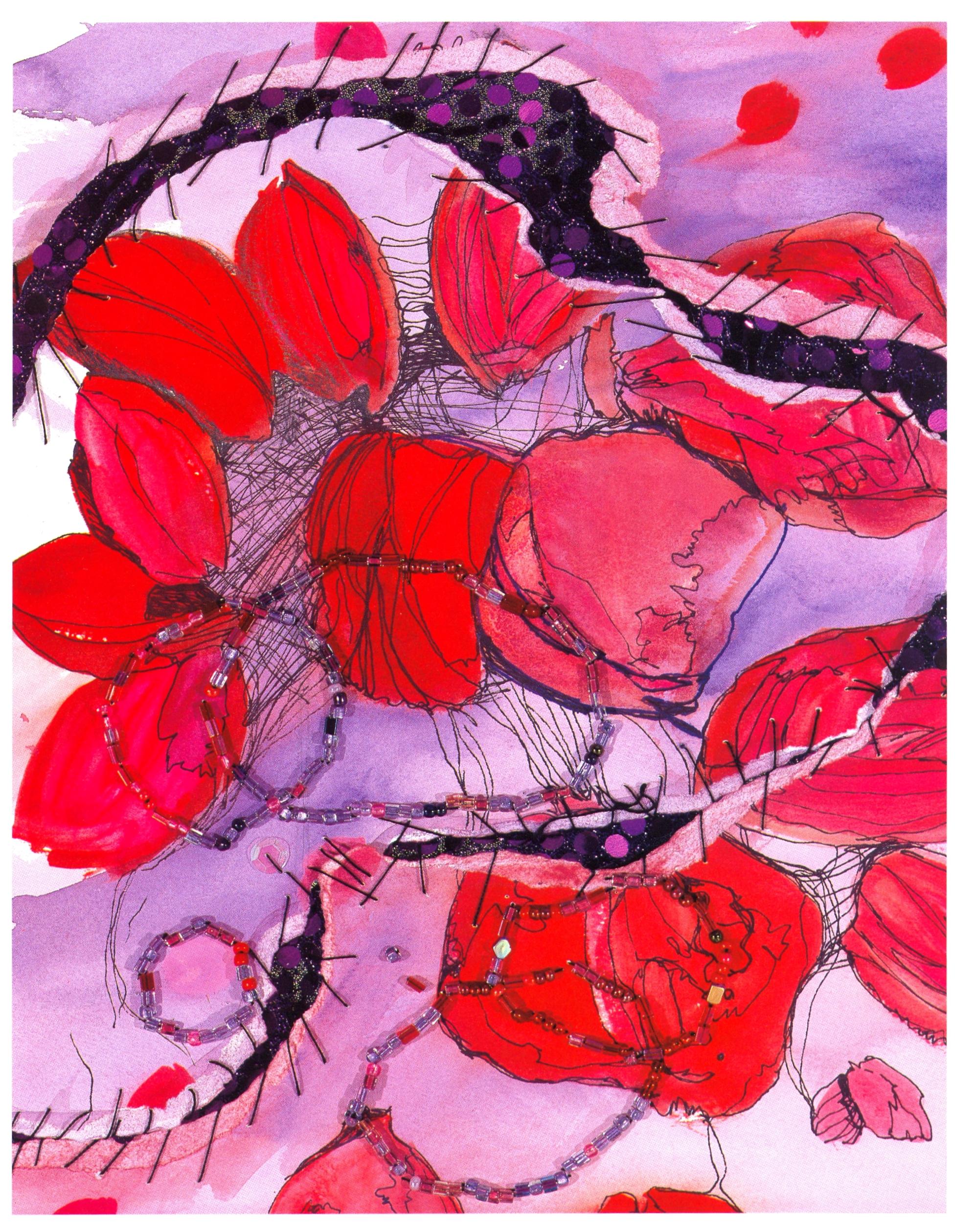 """Denise Dmochowski    Pink Petal Purple Puddle,   paper, watercolor, beads, 11""""x14"""", 2005"""