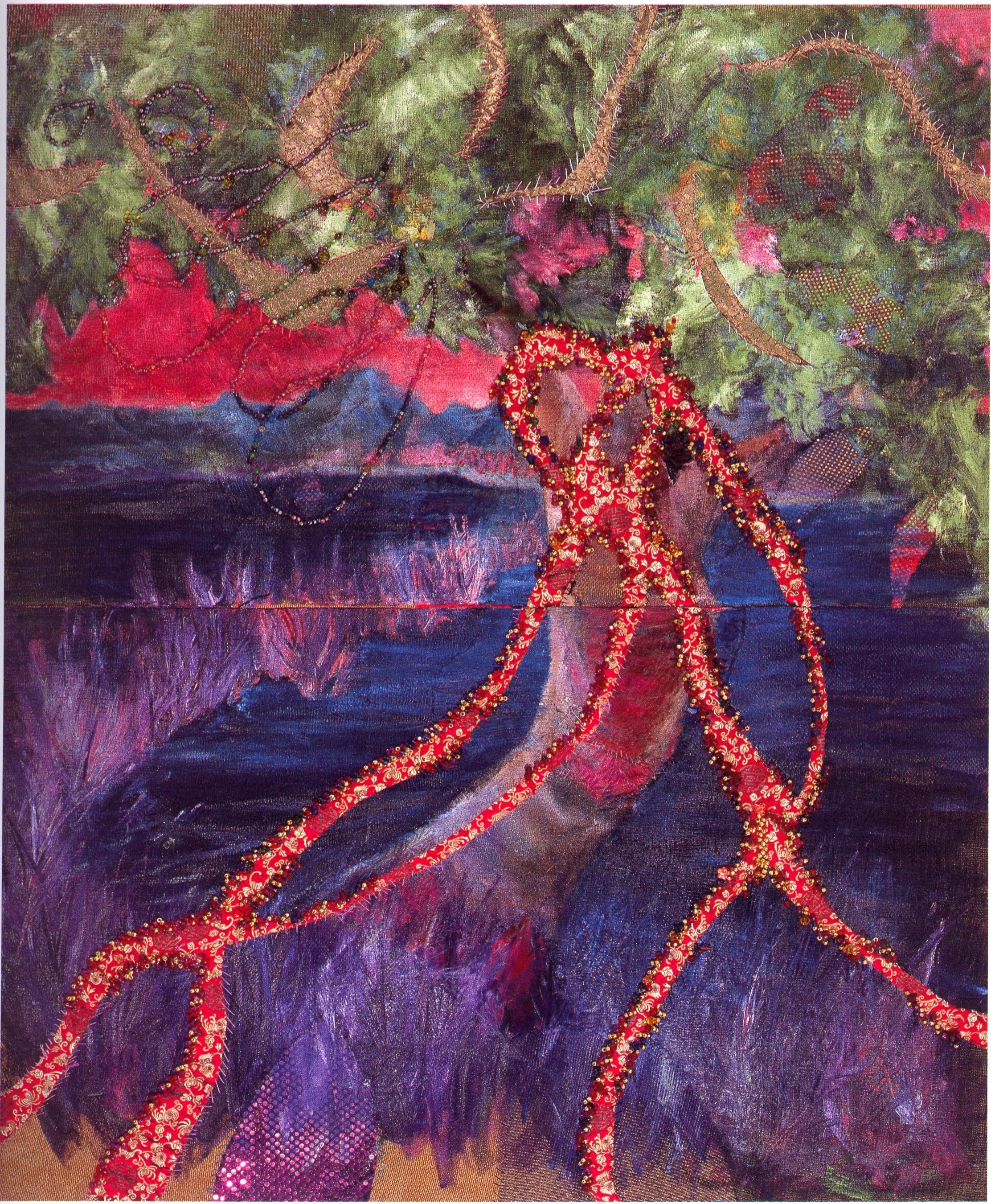 Denise Dmochowski    Mystic Tree,   oil, fabric, beads, 6'x5', 2005