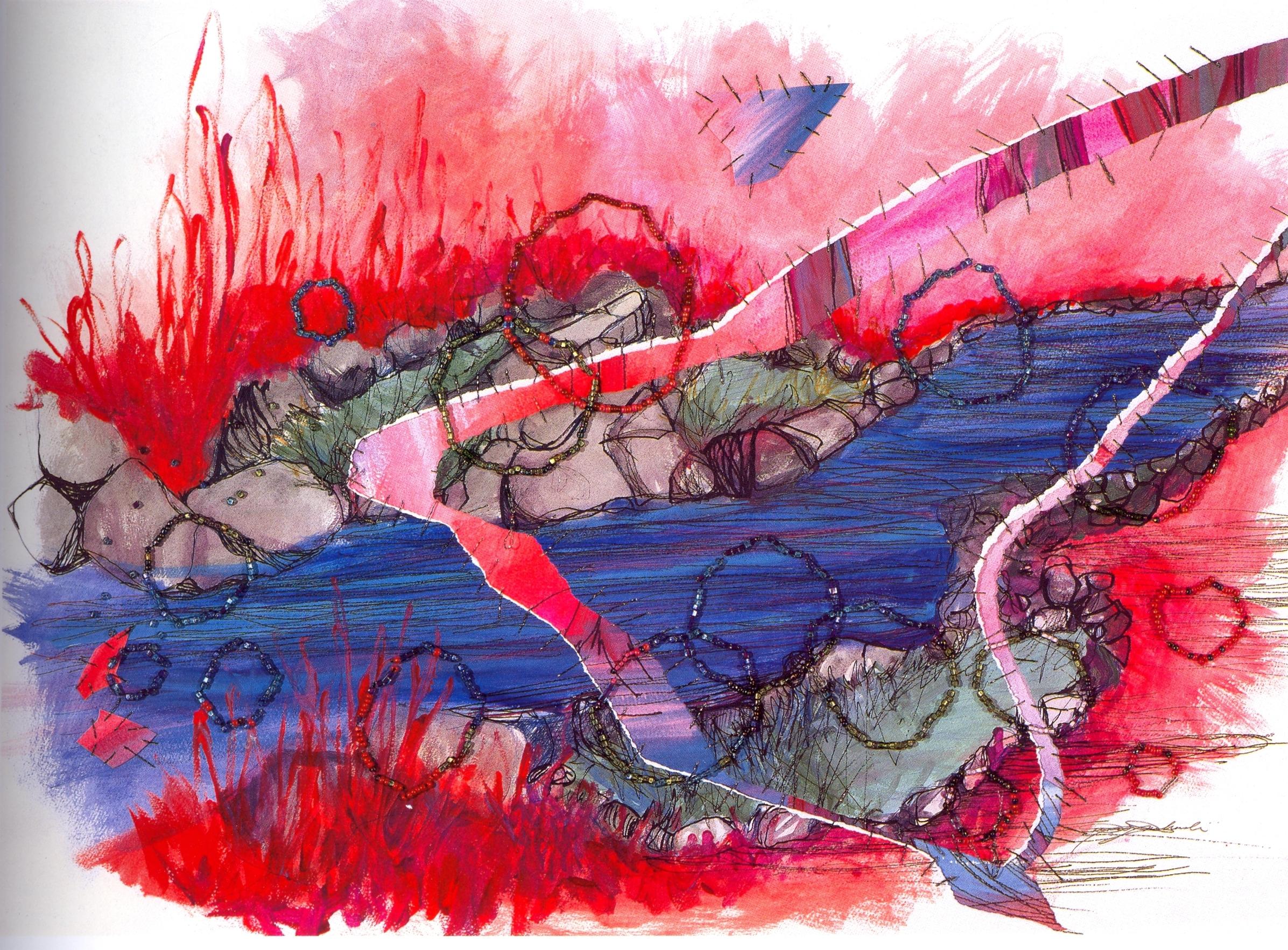 "Denise Dmochowski    Mystic River,   paper, watercolor, marker, beads, 27""x35 1/2"", 2005"