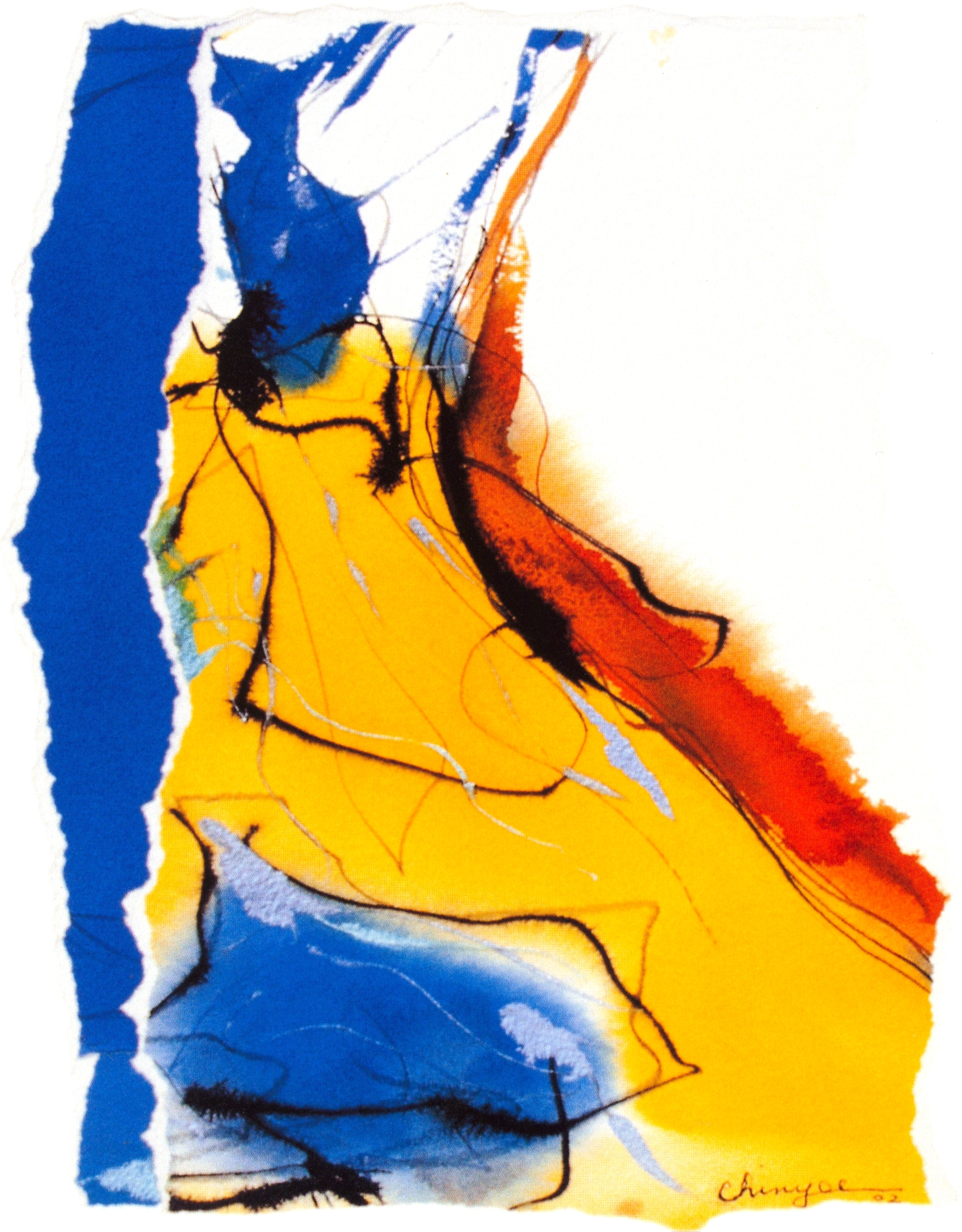 """Chinyee,   Rephrasing #204/02,   2002, Watercolor, Paper on Board, 14"""" x 11"""""""