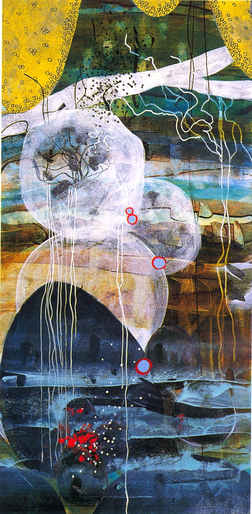 """Betsy Stewart,   River Scroll #1   (Detail), 2002, Acrylic and Sumi Ink on canvas, 78"""" x 18"""""""