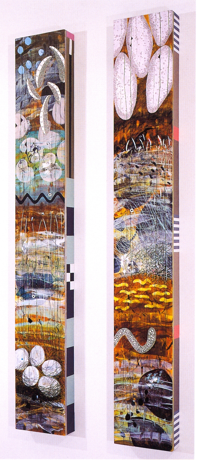 """Betsy Stewart,   Pond Totem #25   (Left),   Pond Totem #20   (Right), 2002, Acrylic and Sumi Ink on canvas, 70"""" x 10"""" x 3 1/2"""" (Each Panel)"""